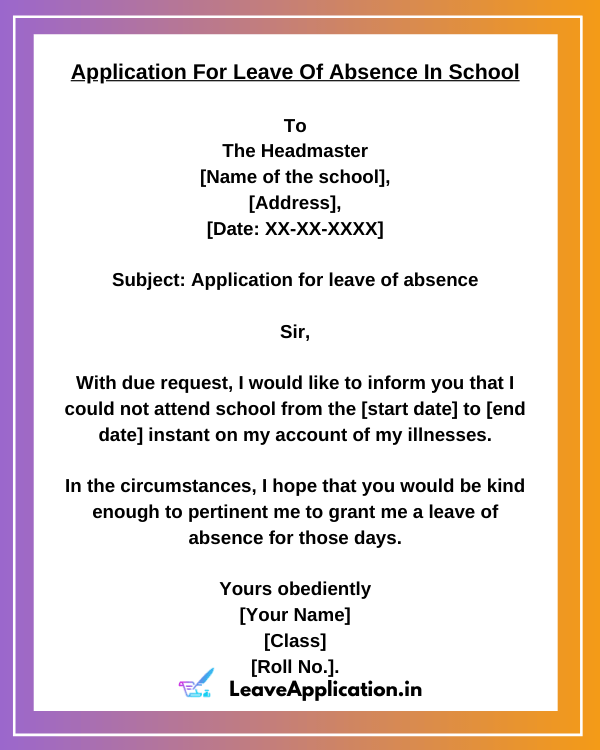 Leave Application for school student format