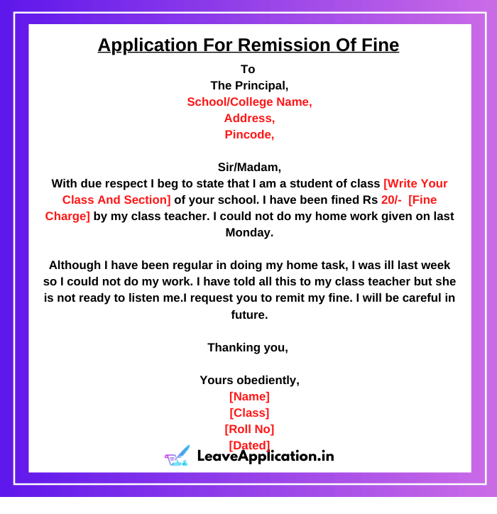 Application For Remission Of Fine, Application For Late Fee Fine Cancellation, Application For Remit The Fine, Application For Fine Cancellation, Application To Principal For Remission Of Fine