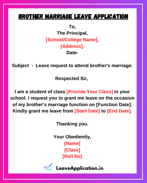 Brother Marriage Leave Application, Leave Application For Brother Marriage, Simple Leave Application For Marriage, Leave Application For Brother Marriage To Principal Of School, Application For Brother Marriage, Brother Marriage Application For School, Brother Marriage Leave To Manager
