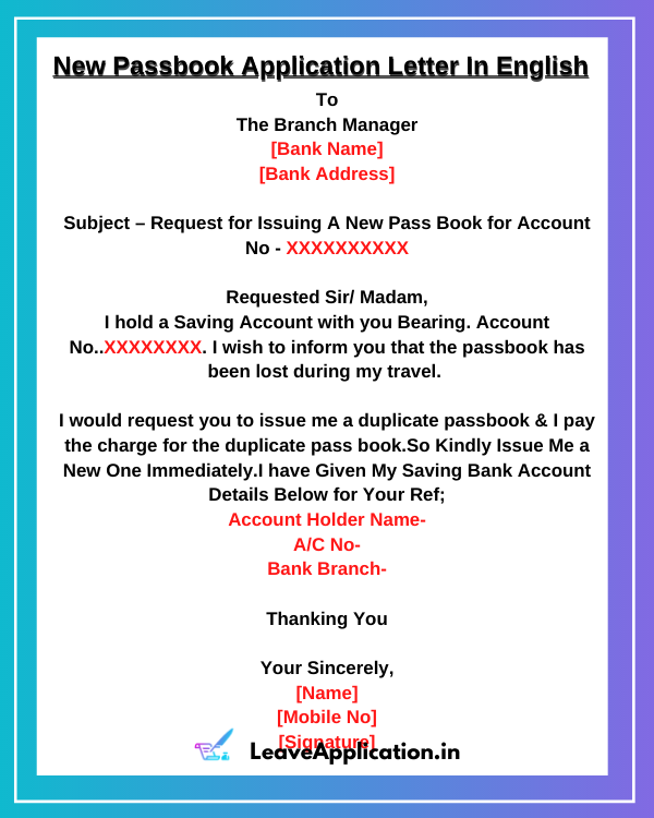 New Passbook Application Letter In English, Application For New Passbook, Sample Letter For Issue Of New Passbook, New Passbook Application, Sbi New Passbook Request Letter, Request Letter For Bank Passbook