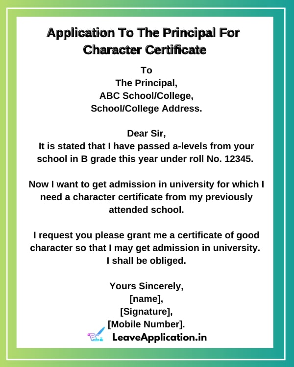 Application For Character Certificate From College In English, Application For Character Certificate For 9th, Application For Character Certificate From School, Character Certificate Application In English, application for character certificate from college for job