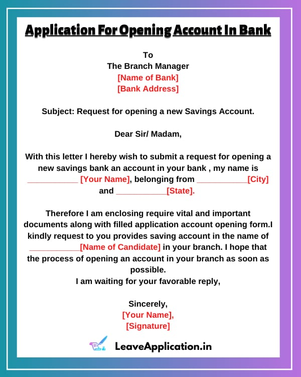 Application For Opening Account In Bank, Bank Account Opening Letter, Application For Opening Bank Account, Bank Letter To Open Current Account, Bank Account Opening Letter Format In Word