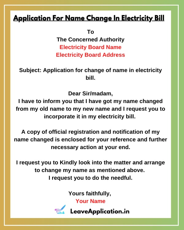 Request Letter Format For Name Change In Electricity Bill, Application For Change Of Name In Electricity Bill, Electricity Bill Name Transfer Letter Format, Application Format For Name Change In Electricity Bill