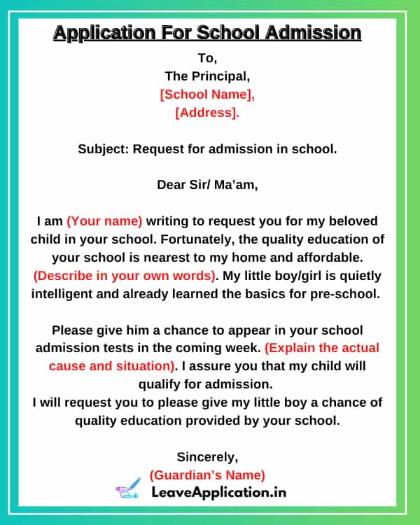 Application For Admission In School, Application For Admission In School For Class 11, Application Letter For School Admission, Application For Admission In New Class, Application For Admission In College