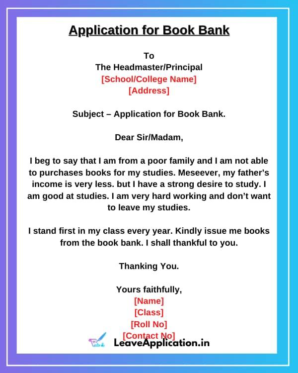 Book Bank Application, Book Bank Ki Application, Application For Book Bank In English, Book Bank Application 9th Class, Application For Book Bank