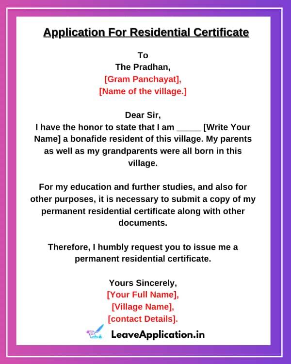 Application For Residence Certificate, Application For Residential Certificate,residential certificate application form, Application Letter To BDO For Residential Certificate