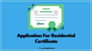 Application For Residential Certificate, Application To BDO For Residential Certificate, Residential Certificate Application Letter