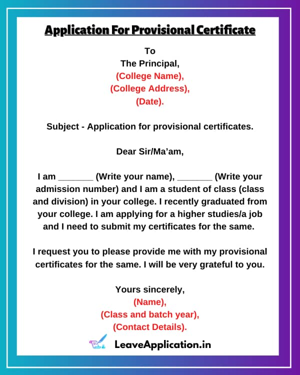 Request Letter For Provisional Certificate, Application For Provisional Certificate, Provisional Certificate Application, Provisional Certificate Format In Word